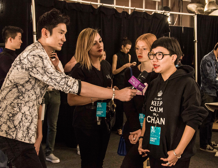 Backstage at Concept Korea at New York Fashion Week