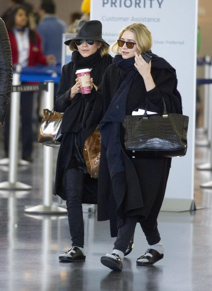 The Row's Olsen Twins wear Birkenstocks to the airport