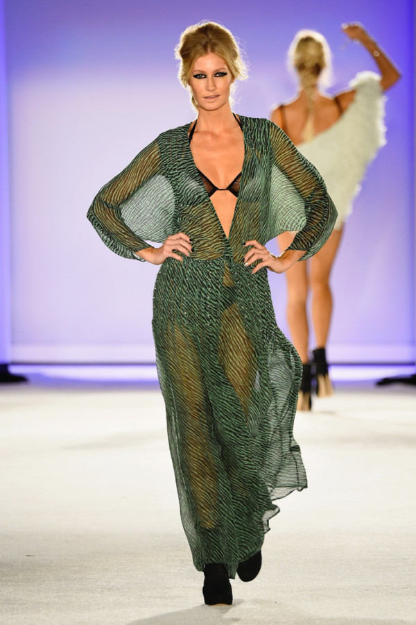 MIAMI BEACH, FL - JULY 19: A model walks the runway at the Indah 2016 Collection during SWIMMIAMI at W South Beach WET on July 19, 2015 in Miami Beach, Florida. (Photo by Frazer Harrison/Getty Images for Indah)