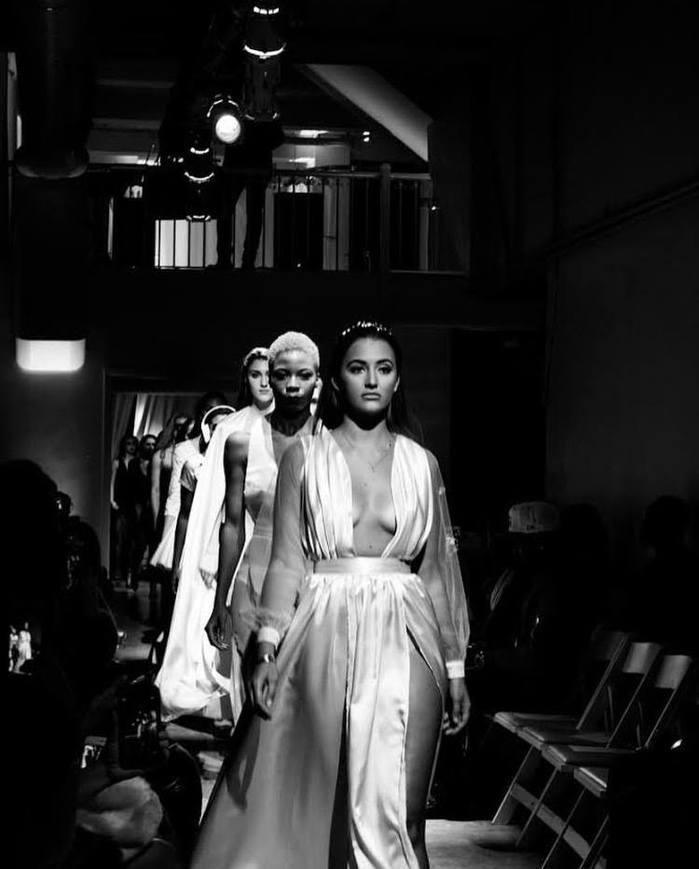 Georgina Leigh walking for Adonis King New York Fashion Week