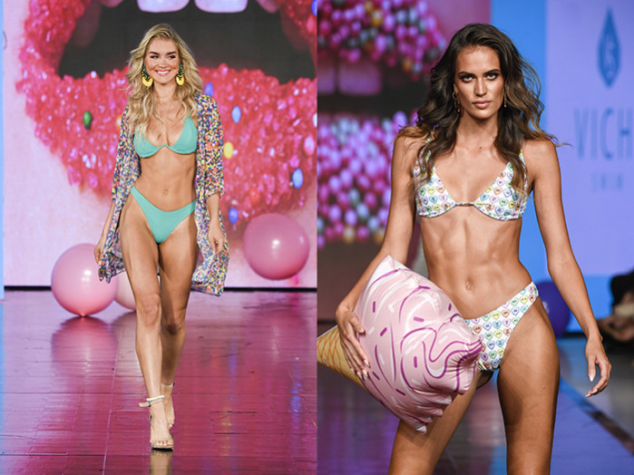Vichi Swim - Miami Swim Week 2019 powered by Art Hearts Fashion - Model left Laura Ivaniukas_ Model right Tamara Milicevic - Photo credit Arun Nevader Getty Images