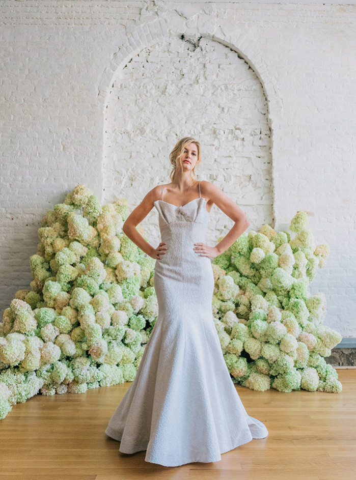 Atlas fit and flare silver textured wedding gown by bridal designer Carol Hannah1(1)