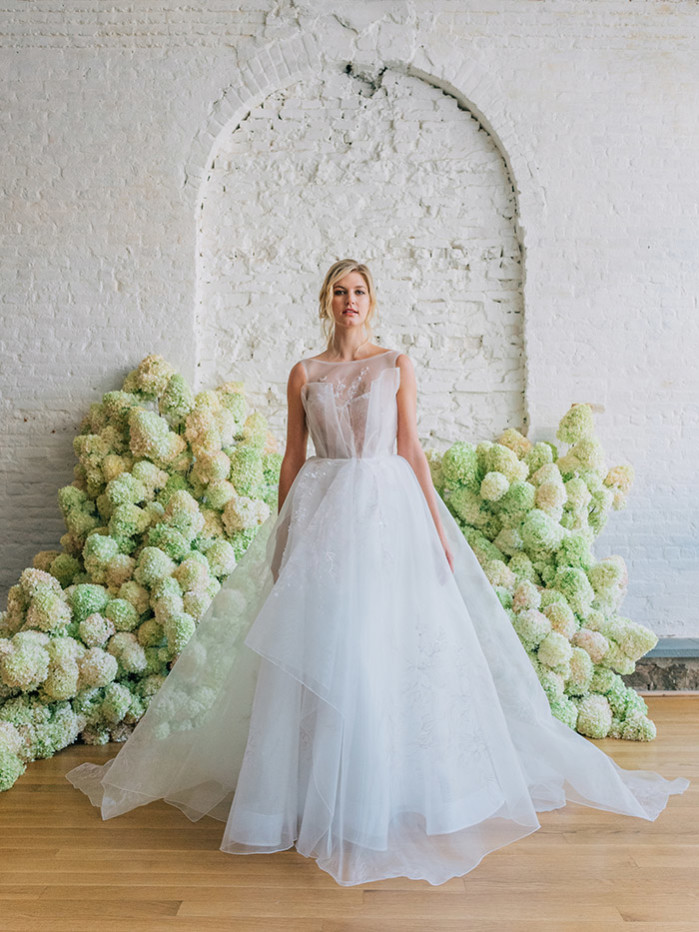 Misselthwaite tulle and blush beaded embroidered floral ballgown by bridal designer Carol Hannah6