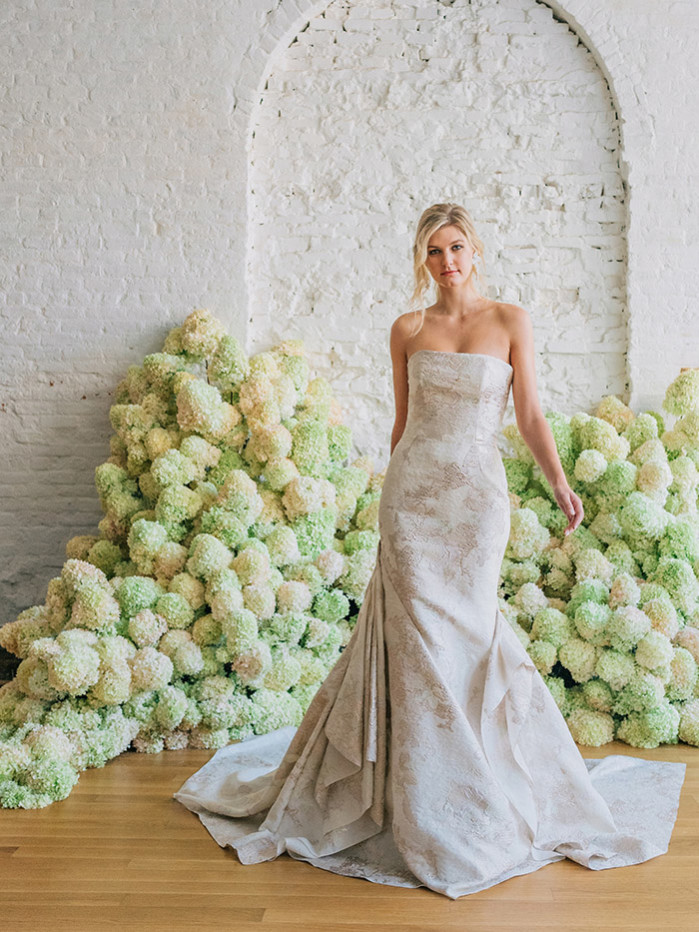 Patina fit and flare colored wedding gown by bridal designer Carol Hannah7